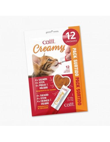 Catit snack gatos creamy liquido multipack 12 udes.